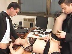 Anal, Brunette, Double Penetration, Secretary, Stockings